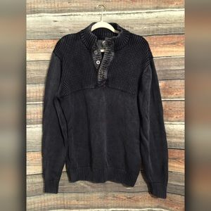 Mens BKE distressed wash henley sweater